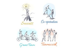 Success and Co-operation Set Vector Illustration