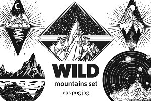 Wild mountains set