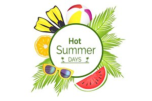 Hot Summer Days Poster Title Vector Illustration