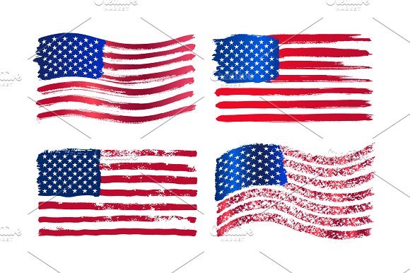 Set Of Grunge American Vector Flag
