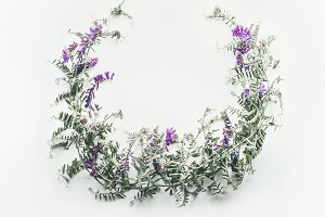 Wreath made of wild purple flowers