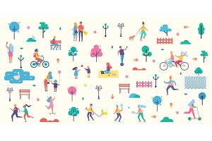 People Park Icons Collection Vector Illustration