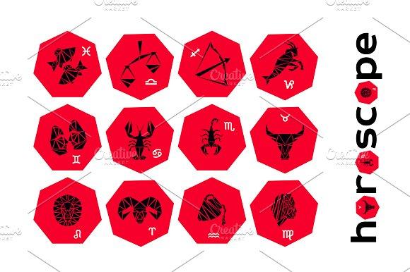 Zodiac Signs Flat Buttons