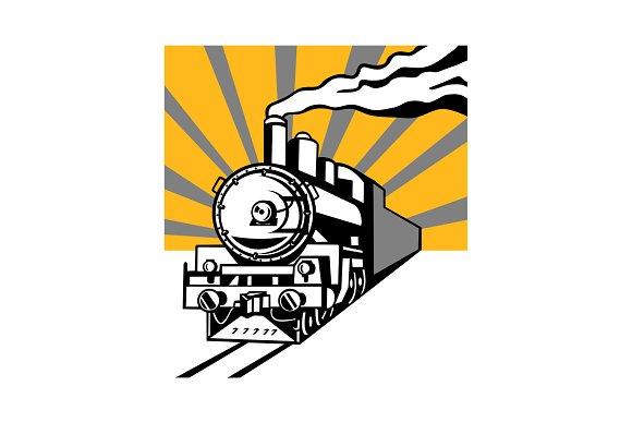Steam Locomotive Sunburst Retro