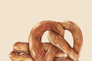 Illustration of baked pretzels