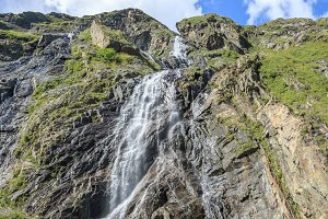 Waterfall in Mountains of Caucasus