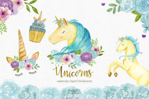 Unicorn Watercolor Clipart