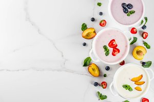 Sweet creamy fruit&berry soups