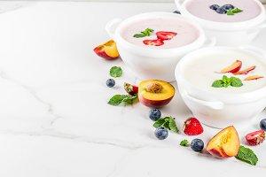 Sweet creamy fruit&berry soups