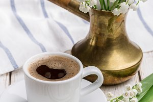 Morning coffee in spring.
