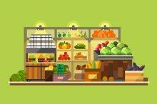 Shop interior. Organic food