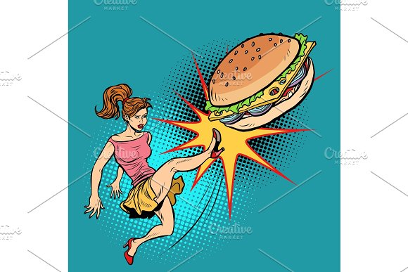 Woman Kicks Burger Fastfood And Healthy Food