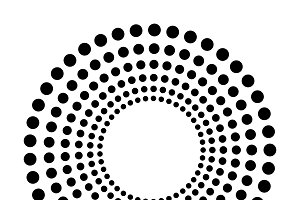 Black abstract dots isolated on white background in technology background, 3d circles illustration