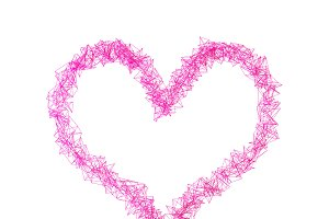 Heart shape with pink connection lines for valentine's day, 3d illustration