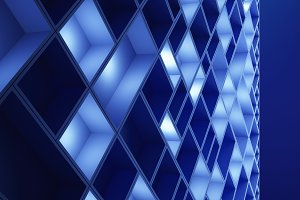 Circuit board. Blue cubes in high-tech technology background. 3d pattern abstract illustration.