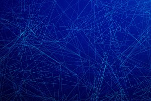 Blue network connection triangle lines on blue background for technology concept, 3d abstract illustration