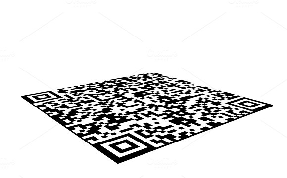 QR Barcode Sticker Isolated On White Background 3D Illustration
