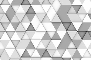 White and grey triangle tiles texture, seamless pattern background. 3d illustration