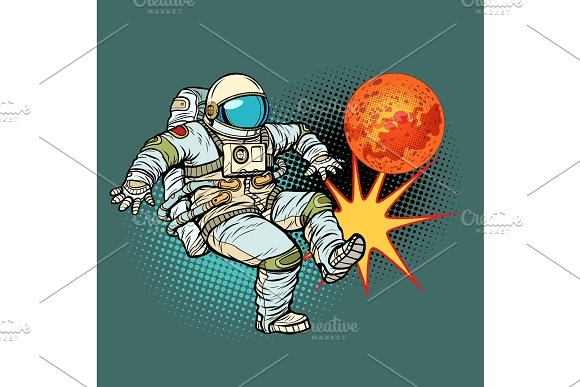 Astronaut Playing Football Mars