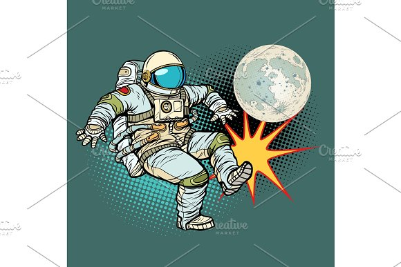 Astronaut Plays Football With The Moon