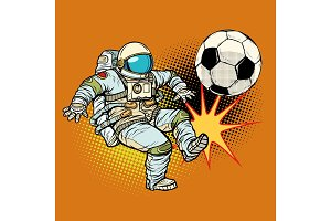 Astronaut playing football. Sport soccer