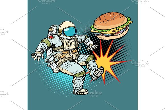 Astronaut Kicks Burger Fast Food Proper Nutrition
