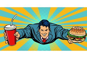 businessman flying, fast food Burger and Cola