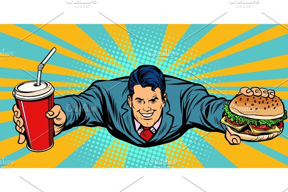 Businessman Flying Fast Food Burger And Cola