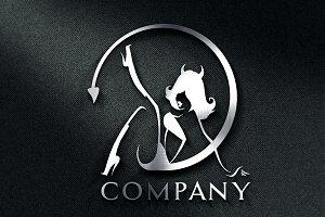 Devil Girl Logo & Mock-Up - Vector
