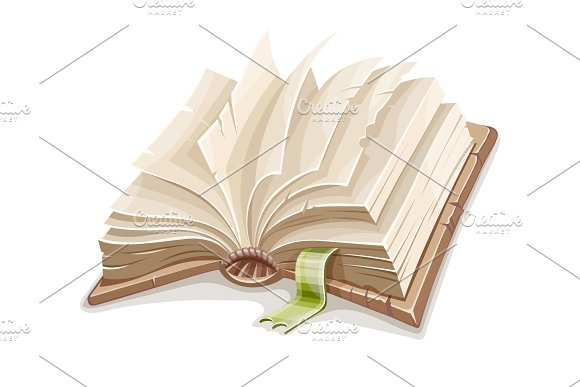 Old Open Book Spread With Blank Paper