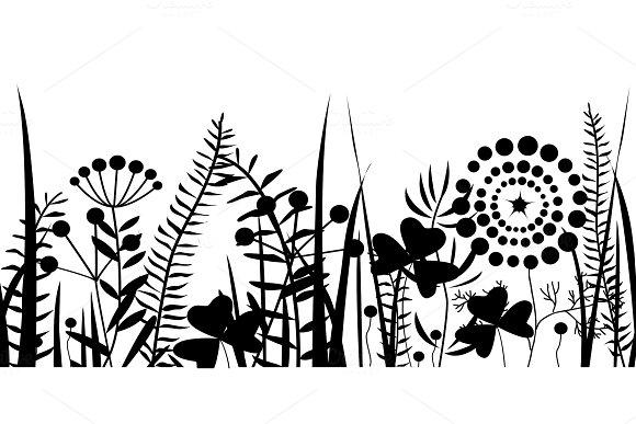 Spring Black Grass Silhouette Seamless Pattern