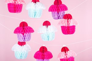 Background with paper craft cupcakes