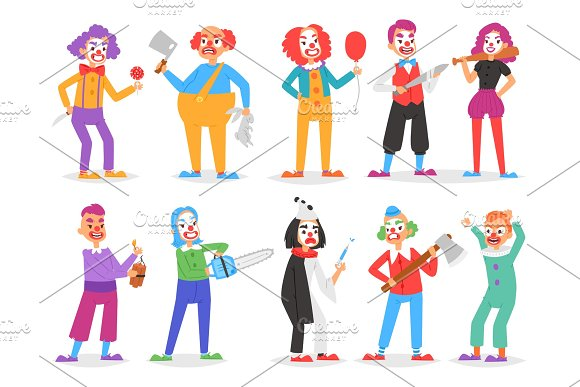 Clown Vector Scary Clownish Character Clowning On Performance In Circus With Ax Or Sword And Cartoon Man Of Clownery Illustration Set Of Creepy Perfomers Isolated On White Background