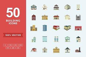 Flat Icons Buildings Set
