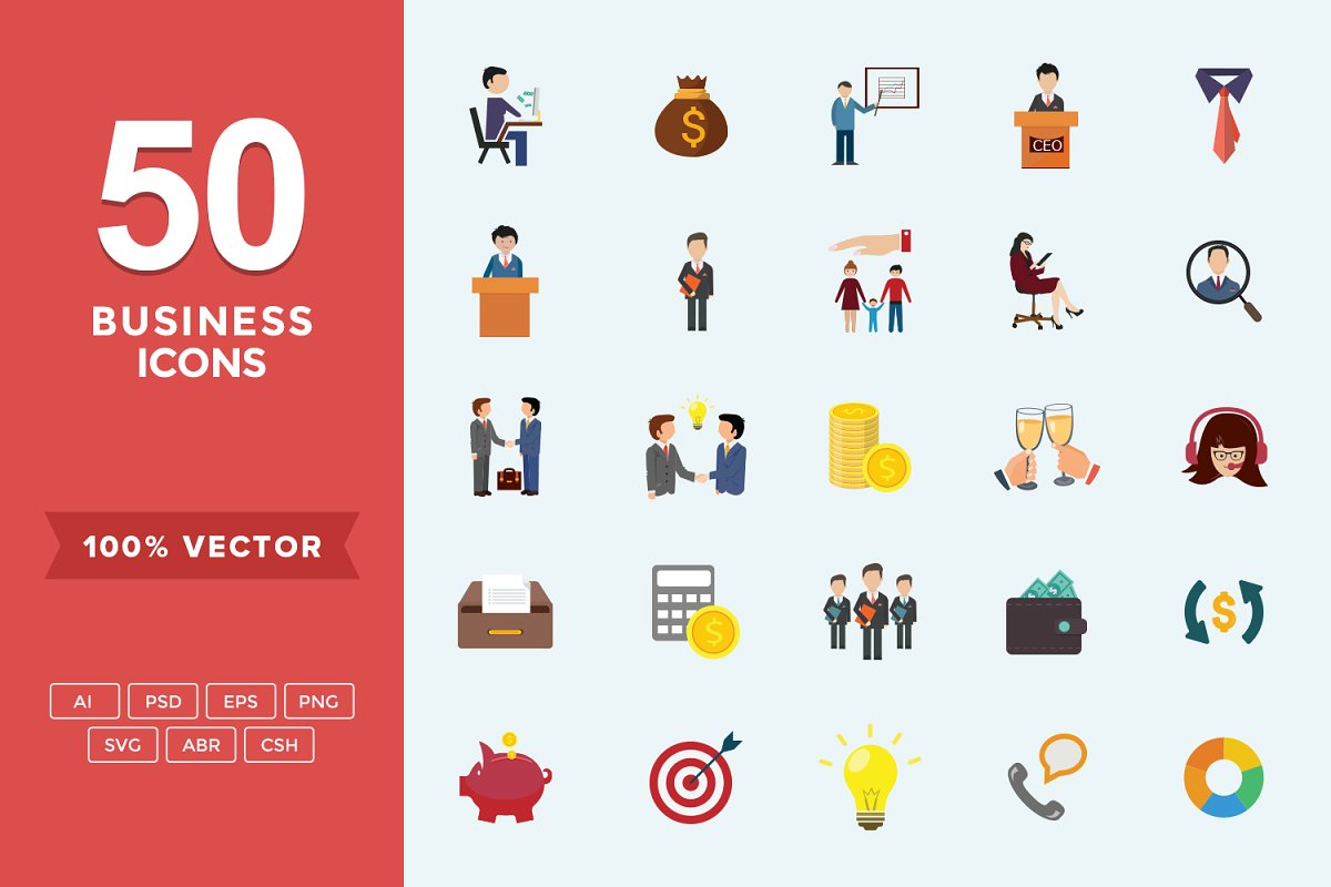 Flat Icons Business Set