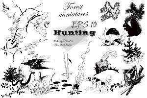 Forest vignettes, miniatures.