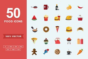 Flat Icons Food Set