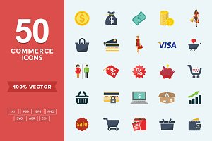 Flat Icons Commerce Set
