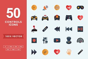 Flat Icons- Gaming & Controls Set