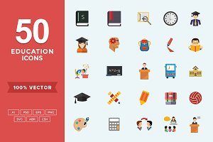 Flat Icons School-Education Set