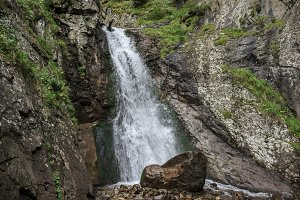 Waterfall in Gorge of Caucasus