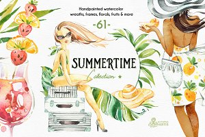 Summertime. Watercolor Collection.