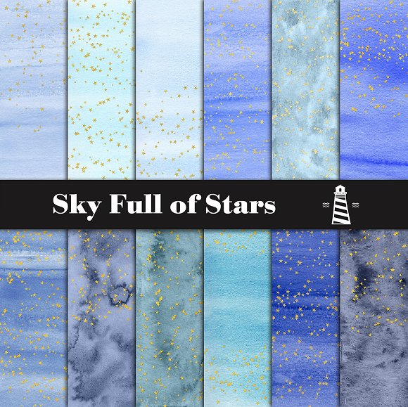 Blue Watercolor Gold Stars Paper