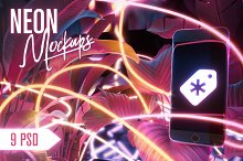 Neon Iphone Mockups Bundle by Andrey Saprykin in Graphics