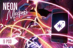 Neon Iphone Mockups Bundle