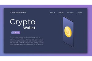Cryptocurrency wallet. Isometric illustration of Cryptocurrency mobile storage app concept. Landing page design layout