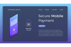 Mobile payment isometric illustration. Smartphone device with secure authentication payment transaction ui. Online banking page design