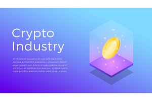 Cryptocurrency. Isometric illustration of Crypto Industry. Crypto Mining Industry concept