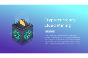 Cryptocurrency Cloud Mining. Isometric illustration of Cryptocurrency Miner. Crypto Cloud Mining Industry concept