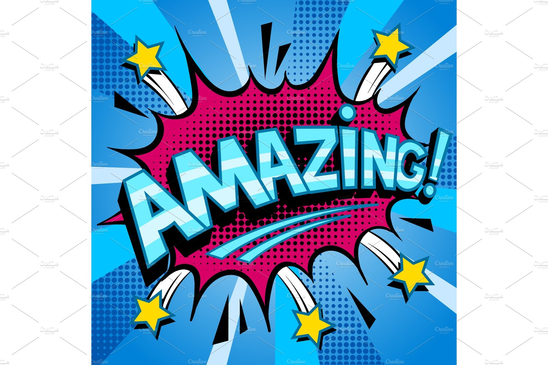 Amazing Word Comic Book Pop Art Vector Stock Vector ... |Marvelous Word Art